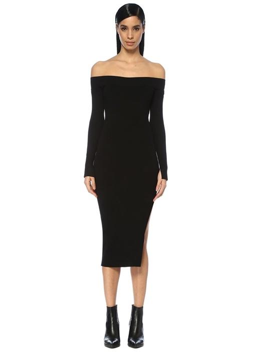 Alyssa Siyah Kayık Yaka Midi Elbise