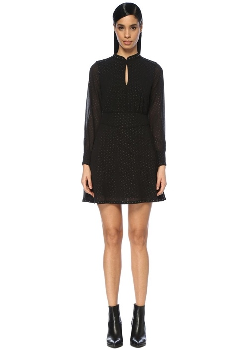Kay Siyah Korsajlı Troklu Mini Elbise