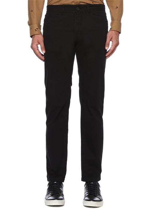 Slim Fit Siyah Denim Görünümlü Chino Pantolon