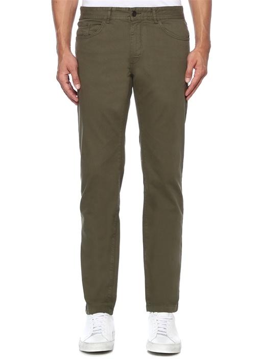 Slim Fit Haki Denim Görünümlü Chino Pantolon