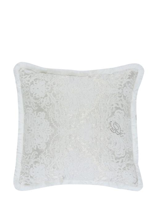 Wedding Beyaz Çiçek Kabartmalı Dekoratif Yastık