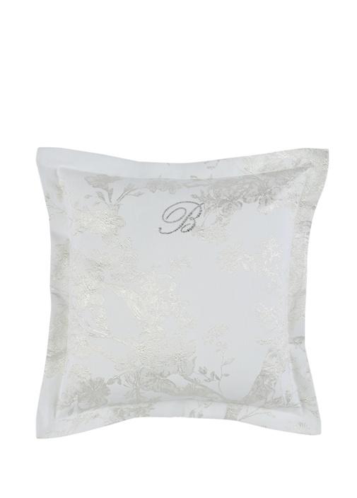 Vita Beyaz Çiçek Kabartmalı Dekoratif Yastık