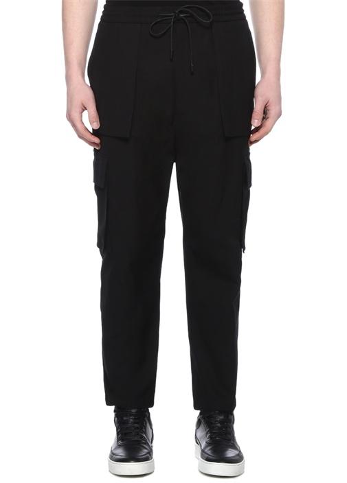 Siyah Yüksek Bel Cep Detaylı Pantolon