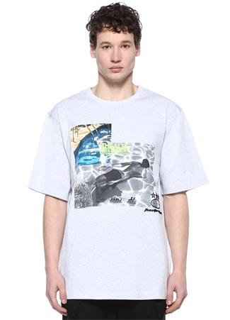 Gri Melanj Bisiklet Yaka Baskılı Nakışlı T-shirt