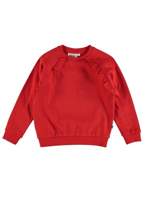 Michaela Kırmızı Fırfırlı Kız Çocuk Sweatshirt