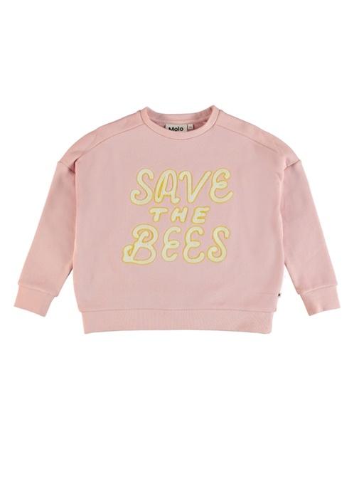 Mandy Pembe Yazı Nakışlı Kız Çocuk Sweatshirt