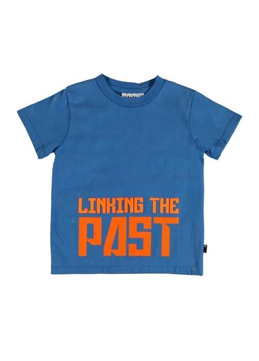 Road Mavi Yazı Baskılı Erkek Çocuk T-shirt