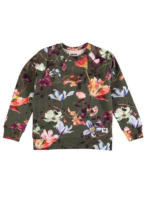 Marina Haki Çiçek Desenli Kız Çocuk Sweatshirt