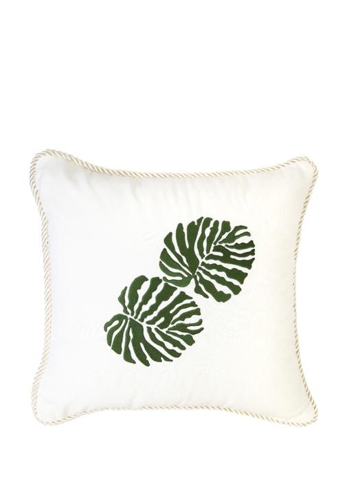 Beyaz Yaprak Baskılı Keten Dekoratif Yastık