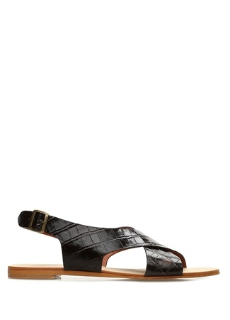 Kahverengi Dokulu Kadın Deri Sandalet