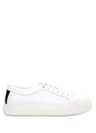 Beyaz Siyah Renk Detaylı Kadın Deri Sneaker