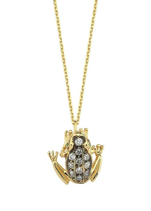 Gold Kurbağa Formlu Taşlı Kadın Altın Kolye