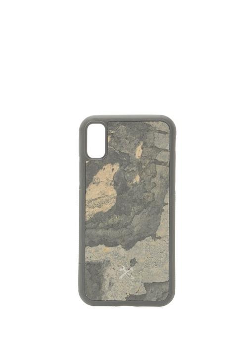 Antrasit Taş Dokulu iPhone X Xs TelefonKılıfı