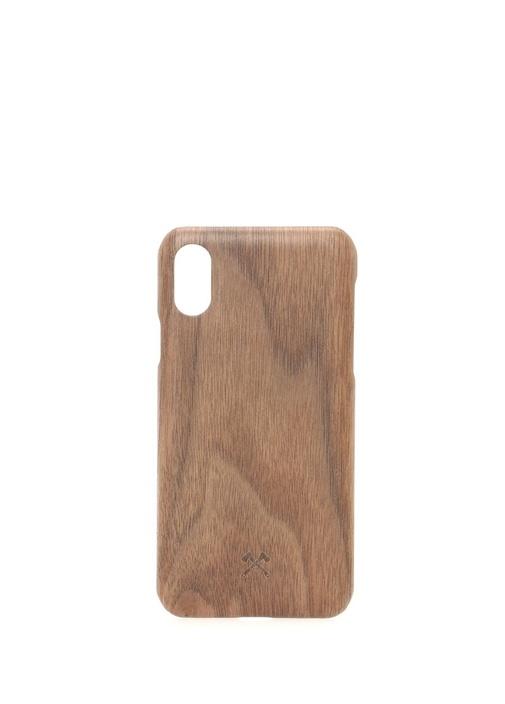 Kahverengi Ahşap iPhone Xs Telefon Kılıfı