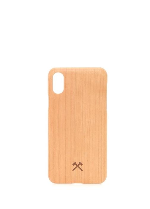 Bej iPhone X Xs Ahşap Telefon Kılıfı