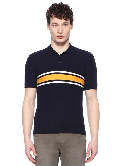 Dermont Lacivert Sarı Polo Yaka ŞeritliT-shirt