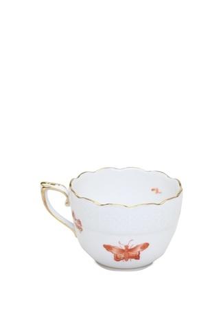Herend Beyaz Pembe Desenli Porselen Kahve Fincanı Turuncu Standart