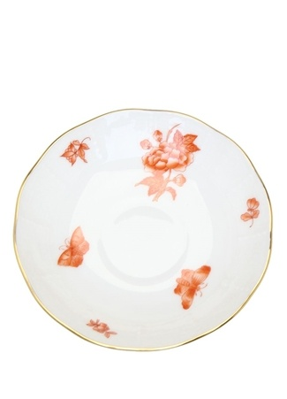 Herend Beyaz Çiçek Baskılı Desenli Porselen Fincan Tabağı Turuncu Standart
