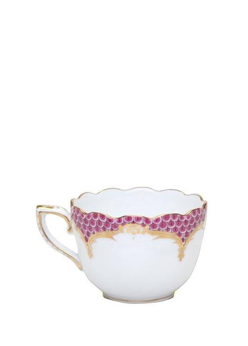 Beyaz Pembe Desenli Porselen Kahve Fincanı