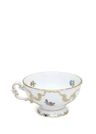 Herend Beyaz Gold Desenli Ayaklı Porselen Kahve Fincanı Çok Renkli Standart