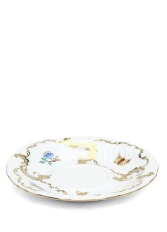 Herend Beyaz Çiçek Baskılı Desenli Porselen Fincan Tabağı Çok Renkli Standart