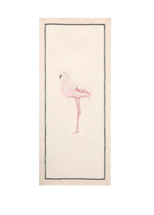 Bej Flamingo Nakışlı Keten Runner