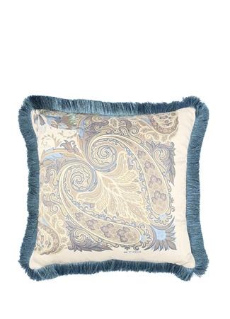 Mavi Etnik Desenli Dekoratif Yastık Bej