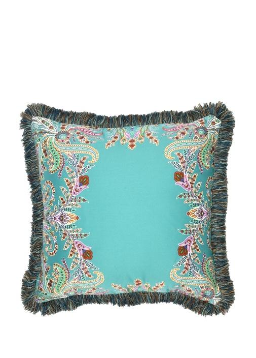 Mavi Şal Desenli Dekoratif Yastık