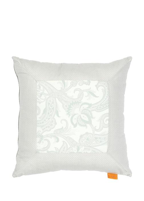 Beyaz Gri Mikro Desenli Dekoratif Yastık