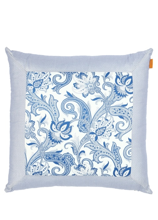 Cuscino Mavi Beyaz Mikro Desenli Dekoratif Yastık