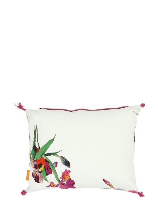 Beyaz Pembe Çiçek Desenli Dekoratif Yastık