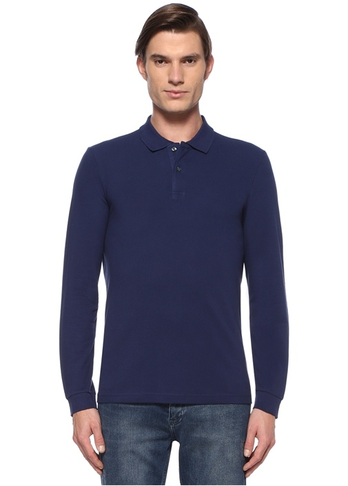 Comfort Fit Lacivert Polo Yaka Sweatshirt
