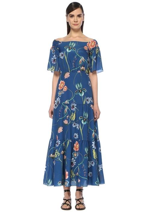 Emelia Mavi Kayık Yaka Çiçekli Maksi Krep Elbise