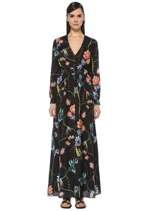 Fransesca Siyah V Yaka Çiçekli Maksi Krep Elbise