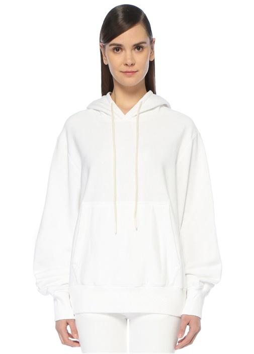 Magda Beyaz Kapüşonlu Oversize Sweatshirt