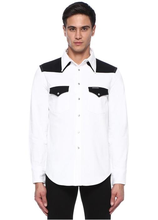 Siyah Beyaz İngiliz Yaka Gömlek