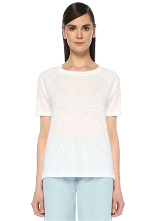 Lorkford Beyaz Bisiklet Yaka Reglan KolT-shirt