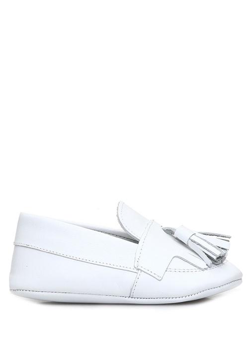 Beyaz Püskül Detaylı Erkek Bebek Deri Ayakkabı