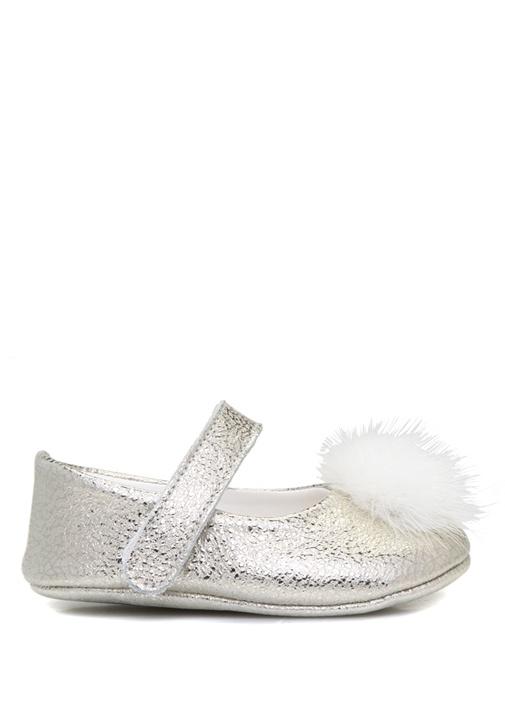 Silver Ponpon Detaylı Kız Bebek Deri Ayakkabı