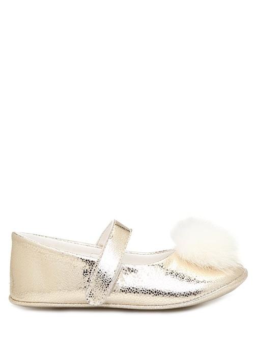 Gold Ponpon Detaylı Kız Bebek Deri Ayakkabı