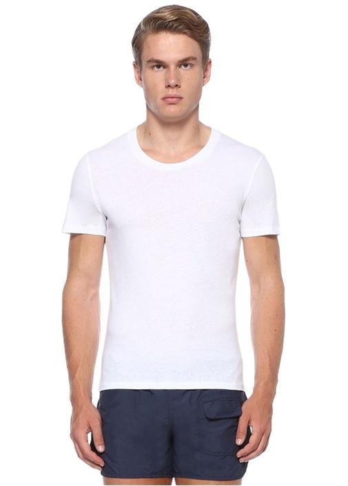 Block Beyaz Bisiklet Yaka Basic T-shirt