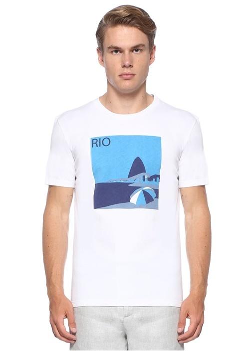 Rio Post Card Beyaz Baskılı Jersey T-shirt