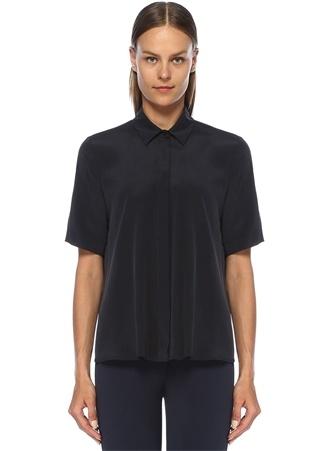 Beymen Club Kadın Lacivert İngiliz Yaka Kısa Kol İpek Gömlek XS EU