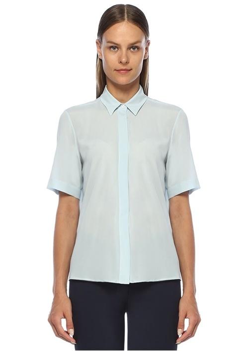 Mavi İngiliz Yaka Kısa Kol İpek Gömlek
