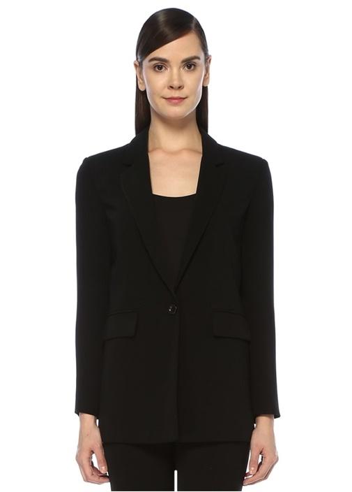 Siyah Kelebek Yaka Tek Düğmeli Krep Blazer Ceket