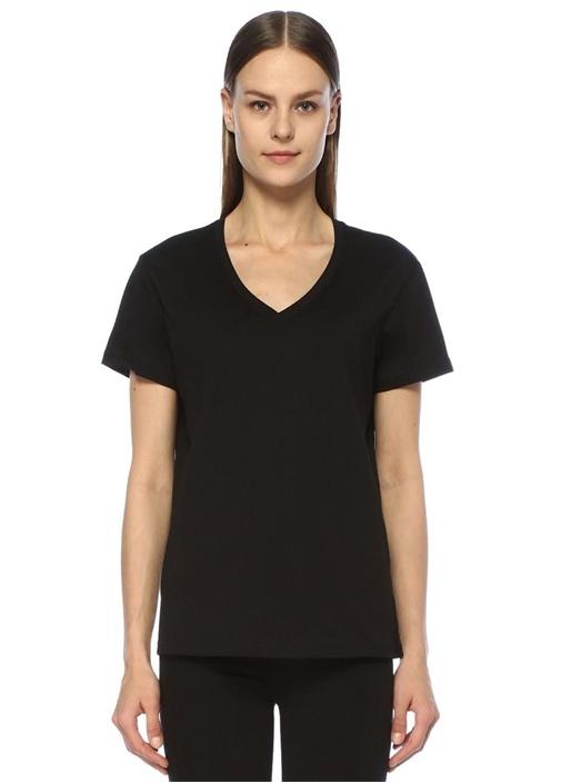 Siyah V Yaka Dökümlü Basic T-shirt