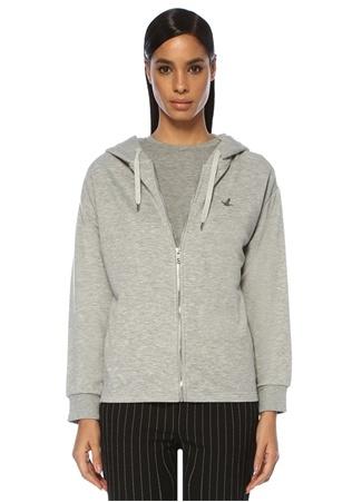 Beymen Club Kadın Gri Melanj Kapüşonlu Fermuarlı Sweatshirt XL EU