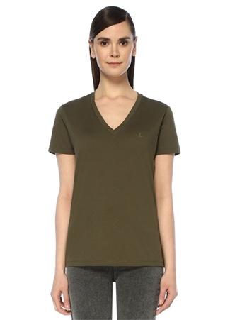 Haki V Yaka Dökümlü T-shirt