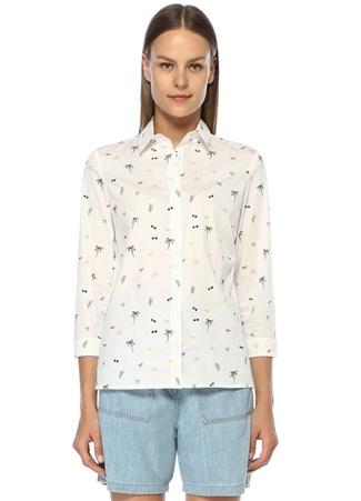 Beymen Club Kadın Beyaz İngiliz Yaka Karışık Desenli Gömlek XS EU