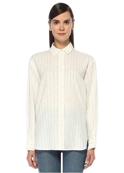 Beyaz Lacivert Çizgili Gömlek